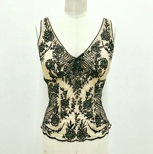 Tracy Reese Floral Embroidered Mesh Camisole